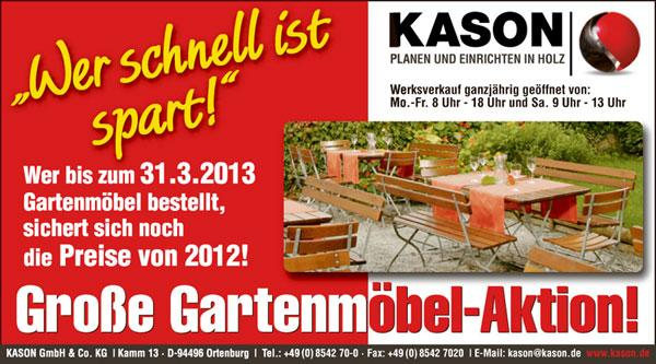 kason gartenm bel g nstig kaufen outdoor saison 2013 jetzt starten. Black Bedroom Furniture Sets. Home Design Ideas