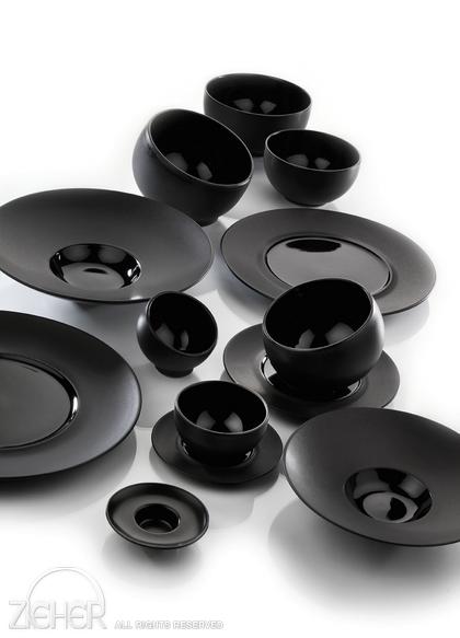 steingut geschirr sphere eleganz in schwarz. Black Bedroom Furniture Sets. Home Design Ideas