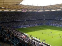 Mit über 1.000.000 Besucher pro Saison auch ein wichtiger Tourismusfaktor: Das Volksparkstadion, Heimat des HSV Hamburger-Sport-Vereins