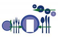 Bild 1: Arbeitsweise mit dem Besteck und Gläsern am Teller