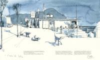 Ischia-Porto Hafenszene mit Bar und Hunden