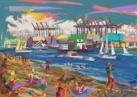 Övelgönne Strand ***, Digitalmalerei 50 x 70  cm