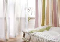 Juliet's Garden - Dessin 1112 Deko mit matt glänzenden Streifen in harmonischem Farbdreiklang. Beidseitig verwendbar durch geschickten Positiv-/ Negativ-Effekt. 100% Polyester, 5 Farben, ca. VK-Preis: 79,00 €/lfm / Bildquelle: ADO Goldkante GmbH & Co