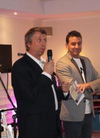 Bauingenieur Sönke Kähler und Jens Sroka bei der Eröffnunsrede