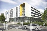 Linker Gebäudeflügel: Comfort Hotel Friedrichshafen / Visualisierung Hotel und Büropark ROTACH