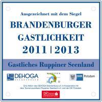Wurde an 28 Betriebe verliehen und ist von 2011 - 2013 gültig: 'Gastliches Ruppiner Seenland' / Bildquelle: Beide DEHOGA Brandenburg