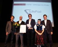2. Preis SuitePad GmbH: Moritz von Petersdorff-Campen, (SuitePad GmbH), Nikolas Bereznicki (SuitePad GmbH), Thorsten Reich (netzvitamine GmbH), Claudia Gilles (DTV), Reinhard Meyer (DTV)