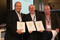 (Von links nach rechts) Christoph Meininger, Jury, Peter Josef Schütz, Michael Hornickel, Präsident der Jury; International Wine Institute IWI