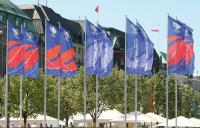 FIFA Fußball-WM 2006 in Deutschland Event-Beflaggung, Fertigung der offiziellen FIFA Flaggen für alle WM-Stadien / Bildquelle:   FahnenFleck GmbH & Co. KG