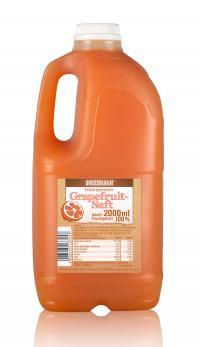 Grapefruitsaft gehört auch zu den neuen naturbelassenen frischen Säfte von Grossmann Feinkost. Copyright Grossmann Feinkost