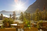 Gasthaus Spinas Bever Terassenblick in die herrliche Natur
