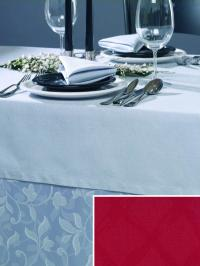 """Festliche Tischwäsche mit raffinierten Details"""" Bildbeschreibung: Tischdecke und Serviette in der Farbe Platin. Unterdecke im Dessin Ranke. Einklinker: Dessin Raute in Rot"""