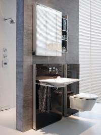 Bäder wie aus einem Guss: Die Geberit Monolith Santärmodule für WC und Waschtisch sind in Form, Farbe und Material aufeinander abgestimmt / Bildquelle: Geberit