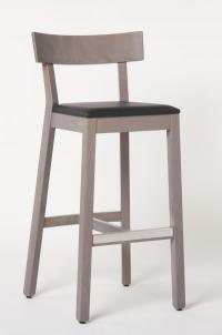 Passend zum Stuhl Ole: Barhocker 10250, auch erhältlich in halber Höhe. Hier mit gräulicher Lasur