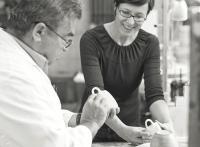Designerin Barbara Schmidt und der erste Kaffee-Sommelier Michael Gliss
