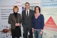 von links nach rechts:  Merle Losem, Geschäftsführerin DHA Alexander Kohnen, Geschäftsführer/Gründer IWI Birgit Ladwig, Fachliche Leiterin DHA, Bildquelle IWI