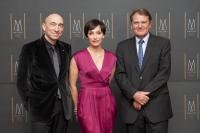 Kristin Scott Thomas, die Botschafterin der MGallery Collection mit Mr. D. Hennequin (links) Mr. Y. Caillere