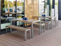 Das Tisch-Bank-Set SOLIST betritt mit klarer Formensprache, Funktionalität und Kombinationsvielfalt die Outdoor-Szene 2014