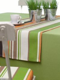 Wäschekrone Gartentischwäsche erfrischend: Tischdecke in frischen Farben und Bordüren-Dessin, Foto: Wäschekrone