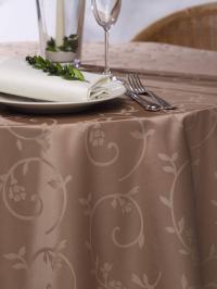 Wäschekrone Gartentischwäsche elegant: Tischdecke in der Farbe Mokka, Foto: Wäschekrone