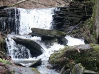 Hin und wieder muss der Baybach seinen Weg über Felsen und Steine zurücklegen und fließt dann als Wasserfall weiter seinen Weg. An keiner anderen Stelle ist das Rauschen des Baybaches deutlicher zu hören!, Bild Rheinland-Pfalz Tourismus, Biersch