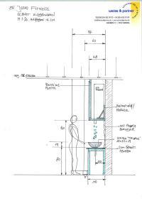 Eisbrunnen von der Seite, technische Zeichung Maße
