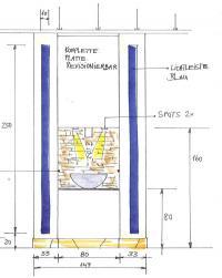 Eisbrunnen von vorn, technische Zeichung Maße