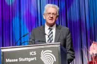 Unterstreicht die Wichtigkeit der Messe: Ministerpräsident Winfried Kretschmann bei der Eröffnung der INTERGASTRA 2014 am 01. Februar 2014; Bildquelle Messe Stuttgart