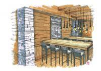Sitzmöglichkeiten im neuen Fast Food Fine Dining 'The Basement'