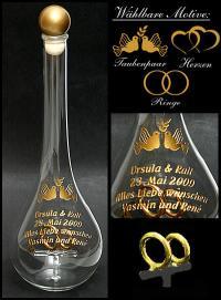 Edelglasflasche Schwäne