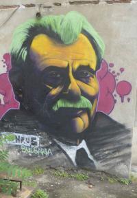 Elias Canetti als Graffiti in Ruse, seiner Heimatstadt an der Donau