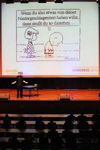 Haltung bewahren: Wie man es besser macht als Charlie Brown, zeigte auf dem Forum VIA Münster das placebotheater in seinen sehr anschaulichen Spielszenen / Foto: Peter Grewer