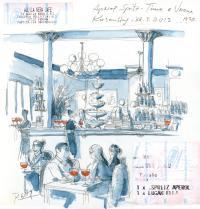 Eine italienische Kaffeebar-Szene; Bild mit freundlicher Genehmigung von Künstler Peter Gaymann aus
