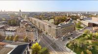 Nordwestliche Perspektive auf die neuen Wohnungen und das HOTEL INDIGO am Wettiner Platz / Copyright: cube visualisierungen, Braunschweig