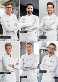 Sören Anders, Pierre Augé, Roberto Valbuzzi, Marie Skogström, Stefan Lenz und Rolf Caviezel tragen auch die Kochkleidung von JOBELINE
