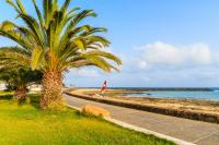 Küstenpromenade mit Palmen am Strand von Costa Teguise, Lanzarote, Kanarische Inseln, Spanien