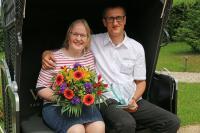 So sehen Sieger aus: Uwe Krebs von der Pension Mittelndorfer Mühle mit Partnerin Frau Heumüller / Bildquelle: LTV Sachsen