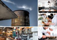 Im Krefelder Mies van der Rohe Business Park entsteht in den kommenden Monaten ein gastronomischer Hot Spot auf einem historischen Industriegelände. Unter anderem werden der alte Wasserturm und die Tankstelle saniert und umgestaltet / Quelle: Mies van der Rohe Business Park