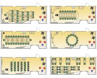 Für den Raum mit der schönen Idee, Zonierungen durch einen kreisrunden Vorhang zu schaffen, wurden sechs unterschiedliche Möblierungsvarianten erstellt / Bildquelle: Beide Neuland GmbH & Co. KG