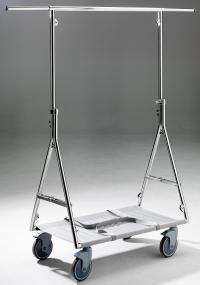 Höhenverstellbarer Reiserollständer mit Industrie-Rollen und beidseitig ausziehbaren Tragestangen, Bildquellen Woerner