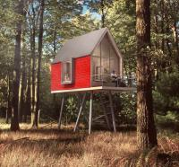 Das sogenannte Rotkäppchen ist mit Holzschindeln verkleidet, die alle einzeln mit der roten Signalfarbe lackiert wurden; Bildquellen europressedienst.com