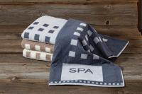 """Zur neuen Wellness-Kollektion gehören auch großformatige (70 x 200 cm), saugfähige und besonders flauschige Spa-Handtücher aus 100 Prozent Baumwolle in den zwei Dessins """"Spa"""" und """"Streifen""""; Bildquelle Wäschkrone"""