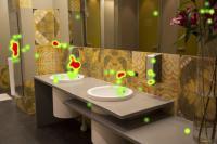 Visualisierung der Tork Eye Tracking Blickpunkte im WC Raum / Bildquelle SCA Tork