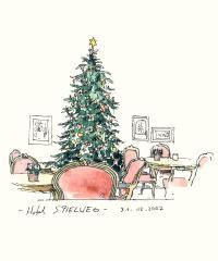 Weihnachtsbaum im Hotel Spielweg; Bild mit freundlicher Genehmigung von Künstler Peter Gaymann aus