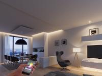 Häfele Connect, eine selbst entwickelte App für Smartphones und Tablets, vernetzt und steuert Licht und Sound sowie elektrische Antriebe im Möbel. Auch beim Thema Smart-Home ist Häfele als Vordenker dabei. / Bildquelle: Häfele