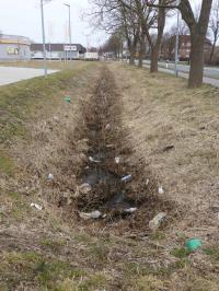 Müll im Graben vor Scholz an der Harburger Straße