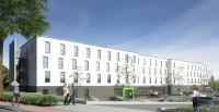 Dreidimensionales Modell des HIEX der neuesten Generation in Sindelfingen. Das Hotel der Marke Holiday Inn Express soll im ersten Quartal 2020 eröffnen. / Bildquelle: HIEX