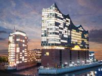 Einfach nur schön: Die Elbphilharmonie und das Columbushaus bei Nacht. Bildquellen Miniatur Wunderland Hamburg GmbH