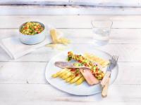 Friesenkrone Matjes Nordisch grantinierter Spargel Kartoffelsalsa