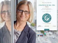 Direktorin Fiona Machovits freut sich über die Green Globe Zertifizierung / Bldquelle: Alle Bilder Living Hotels